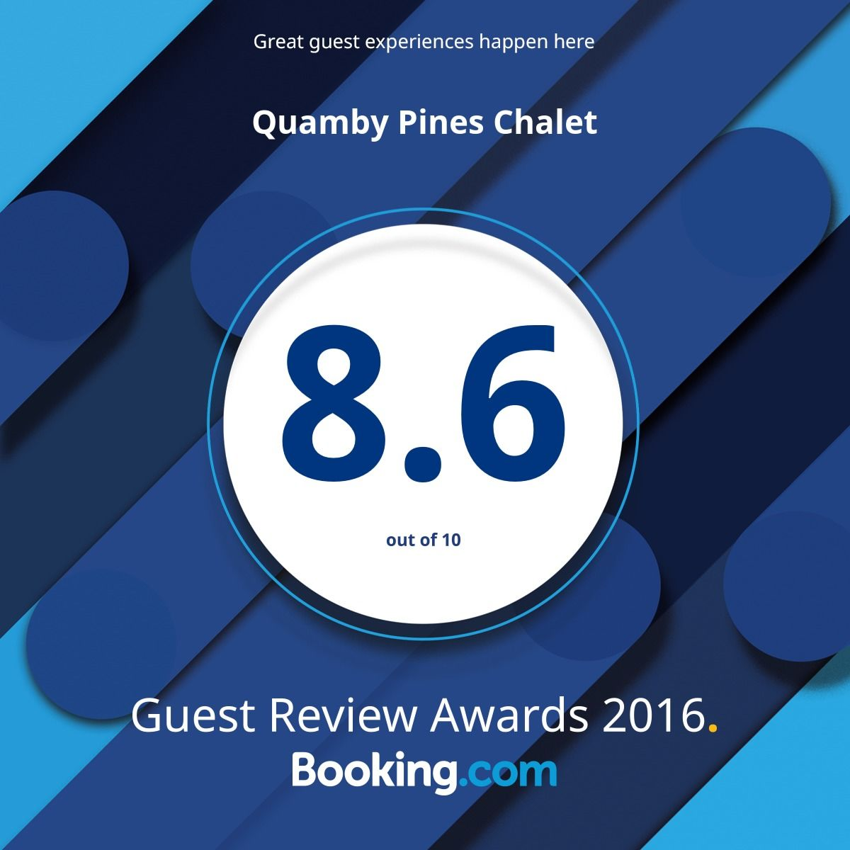 Booking.com rated 2016 Award Winning Quamby Pines 8.6